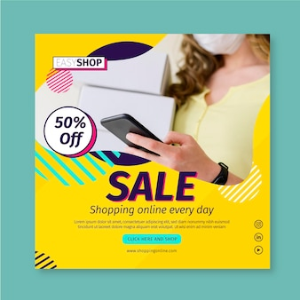 Sale square flyer template with photo
