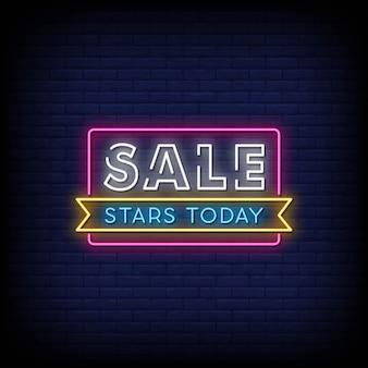 Начать продажу сегодня неоновые вывески стиль текста Premium векторы