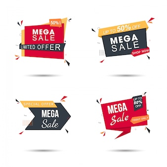 Sale sticker set in yellow and red with different discount offers