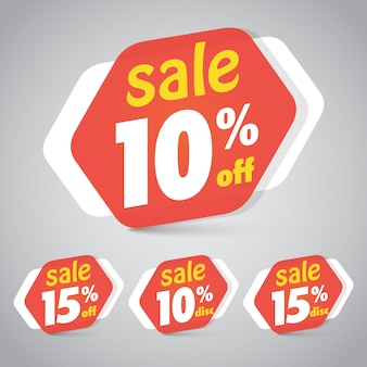 Sale sticker tag for marketing retail element design with 10% 15% off.