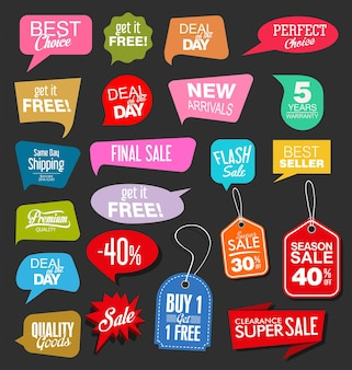 Sale stickers on black background illustration collection