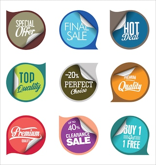 Sale stickers  colorful collection