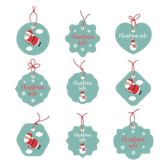 Sale stickers graphics. merry christmas happy labels. happy holidays promo tags. santa claus, snowflakes, snowman.