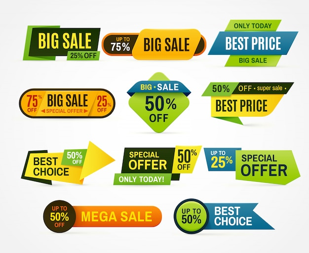 Sale stickers. price tag label. Premium Vector