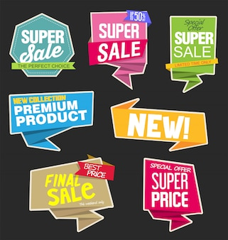 Sale stickers and tags or labels on speech bubble