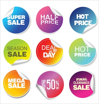 Sale stickers and tags modern rainbow collection