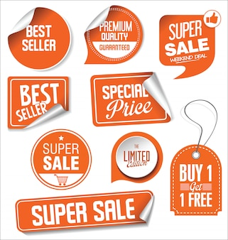 Sale stickers vector illustration collection