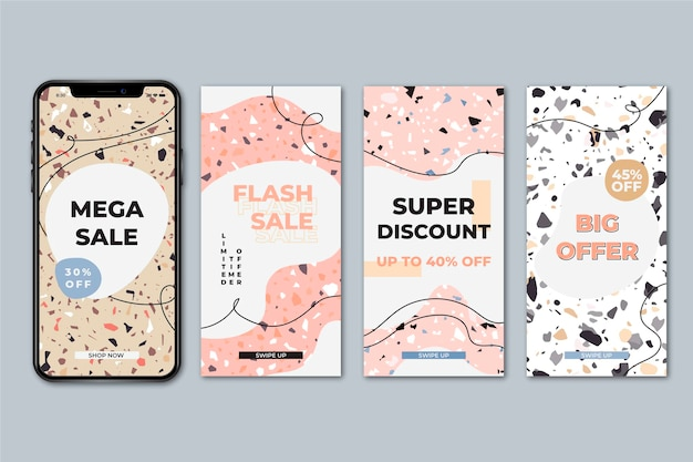 Sale stories collection in terrazzo style