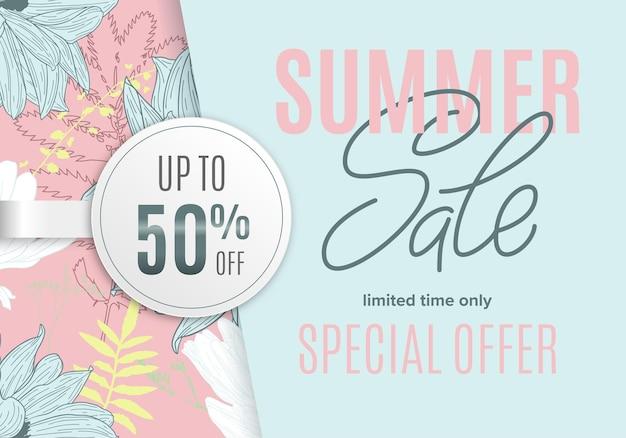 꽃 잉크 스케치와 흰색 원형 스티커가 있는 여름 배너 판매 50% 할인