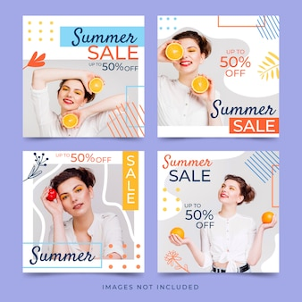 Sale summer collection banner set