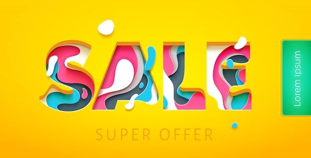 Sale tag design template in paper art carving style. colorful bright vector illustration