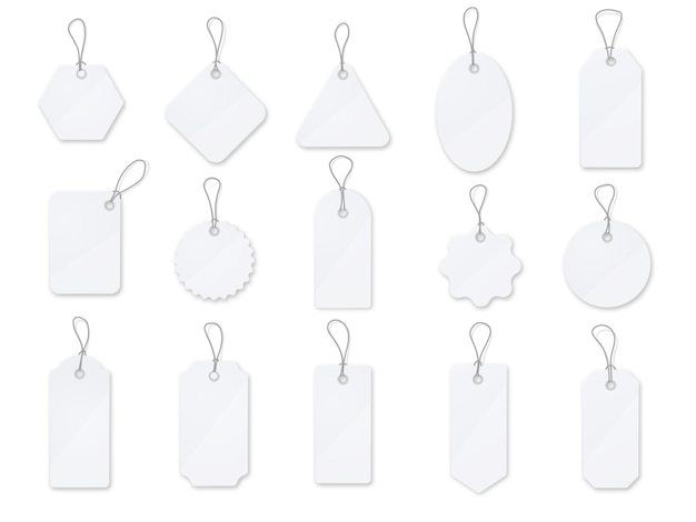 Sale tag and labels vector set. white  glossy price tag