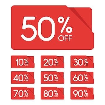 セールタグセット。 10、20、30、40、50、60、70、80、90%オフ。値下げと割引タグのデザイン要素。ベクトルイラスト。