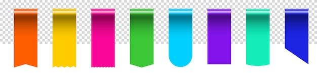 Край закладки шелковой ленты бирки сбывания с copyspace. реалистичная трехмерная этикетка из ленты цвета радуги с пустым пустым местом
