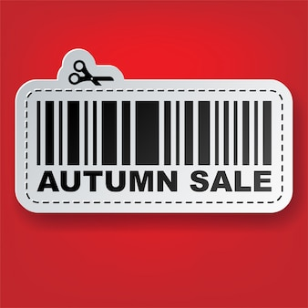 Sale tag sticker with barcode and scissors  illustration