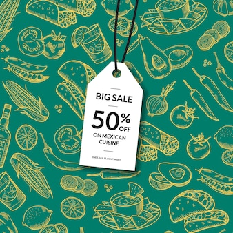 Sale tag with sketched mexican food elements