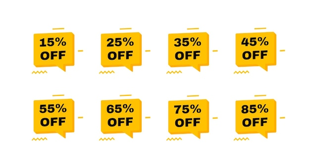 Sale tags badges. 15, 25, 35, 45, 55, 65, 75 and 85 percent off discount. banners template