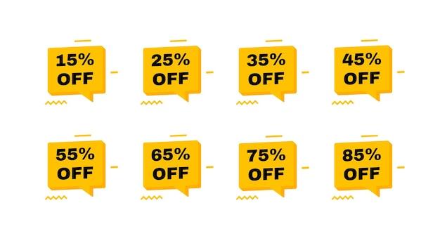 Значки тегов продажи. скидка 15, 25, 35, 45, 55, 65, 75 и 85 процентов. шаблон баннеров