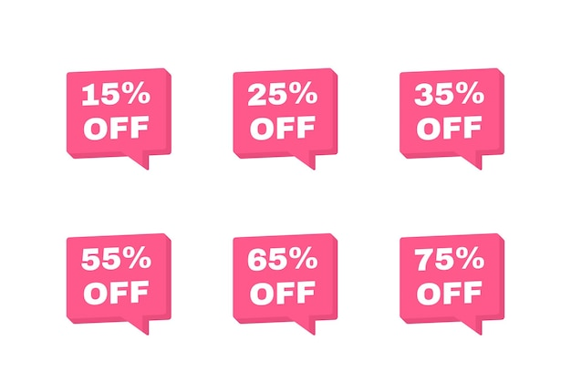 Sale tags badges. 15, 25, 35, 55, 65 and 75 percent off discount. banners template