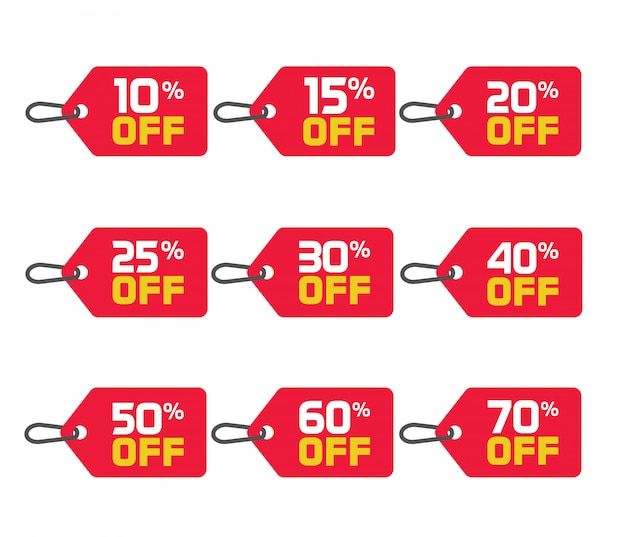 Sale tags or badges vector set