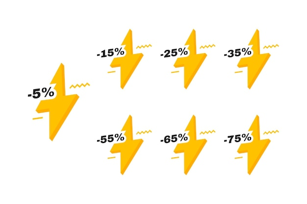 Sale tags badges with lightning bolt. 5, 15, 25, 35, 55, 65 and 75 percent off discount. banners template