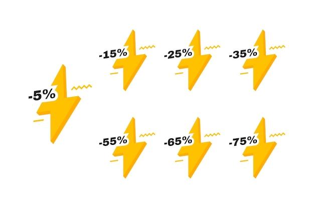 Продажа тегов значки с молнией. скидка 5, 15, 25, 35, 55, 65 и 75 процентов. шаблон баннеров