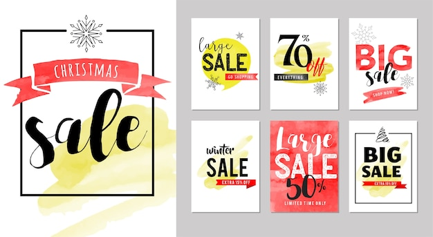 Sale tags, labels. christmas sale colorful watercolor Premium Vector