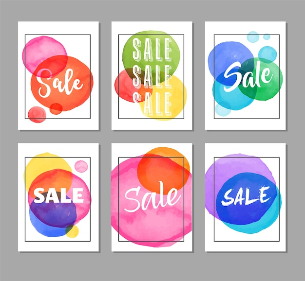 Sale tags, labels. christmas sale colorful watercolor
