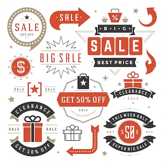 Sale tags and labels design vector vintage set for banners