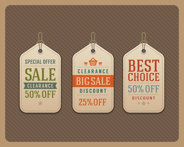 Sale tags labels retro typographic design elements vector illustration.