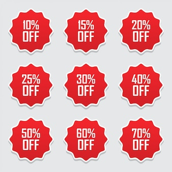 Sale tags or labels set with percent sale discount promotion flat icon