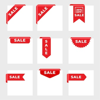Sale tags ribbons card set of nine
