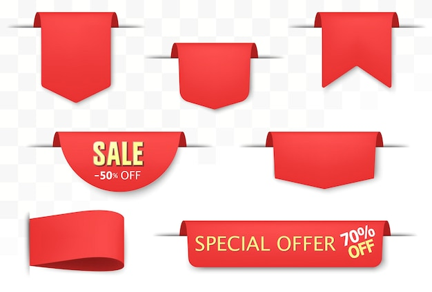 Sale tags set. red discount badges and big deals labels, ribbon and price sticker. realistic paper scrolls