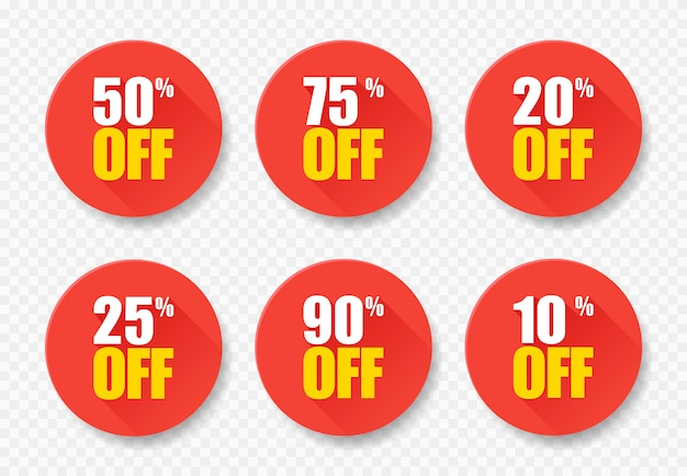 Sale tags set vector badges template, 10 off, 20, 25, 50, 75 90 percent sale label symbols, discount promotion flat icon with long shadow