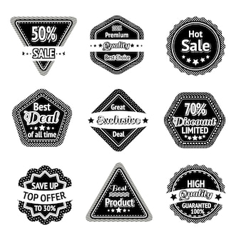 Sale tags and stickers set for best price high quality and exclusive deal isolated