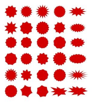 텍스트를 위한 공간이 있는 판매 태그입니다. 붉은 색 별 모양 판매 레이블 집합입니다.
