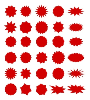 Sale tags with space for text. set of red color star shape sale label.