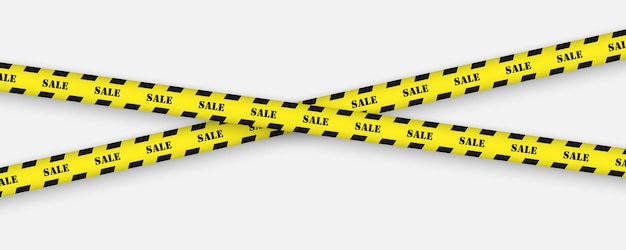 Sale tape with black and yellow striped borders