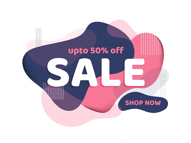 Sale template banner design with 50% discount offer on abstract fluid