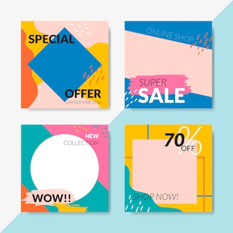 Sale template banner set vector