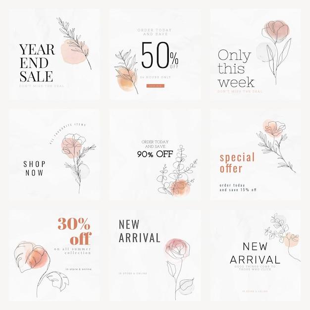 Вектор шаблонов продаж для продажи в конце года в минималистском стиле в социальных сетях