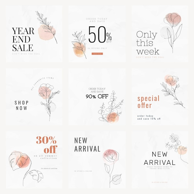 Sale templates vector for year end sale minimal style social media ad set