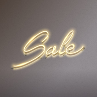 Sale text glowing neon sign