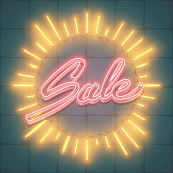 Sale text in neon frame sunburst shape glowing rays of light, background illustration