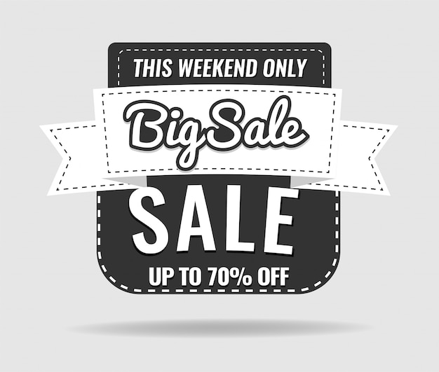 Sale, this weekend special offer label, up to 70% off.