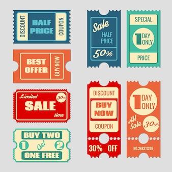 セールチケットベクターコレクション。クーポンと購入、タグと価格、ラベル紙、プロモーション割引イラスト