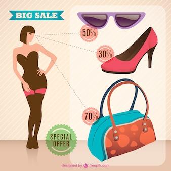 Продажа модный женщина вектор