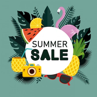 Sale of tropical fruits with flamish and leaves plants