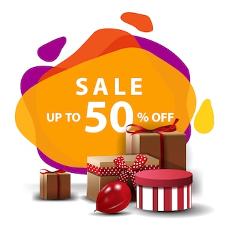 Sale, up to 50% off, colorful discount banner in lava lamp style with gifts