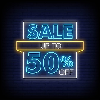 Sale up to 50% off neon sign style text vector